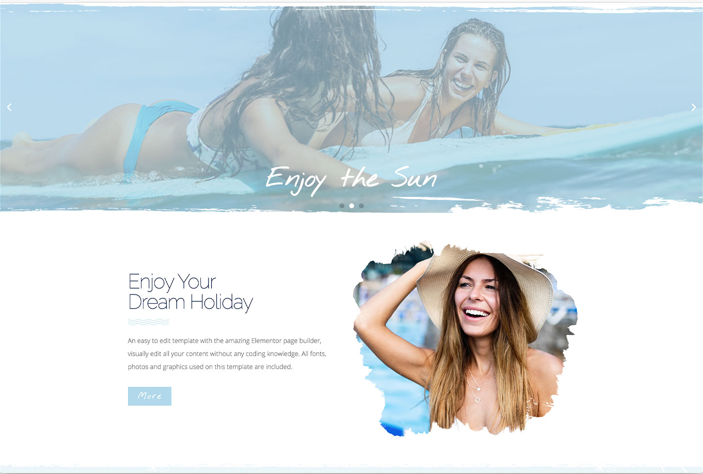 Coastal Travel - bizProWeb Website Builder Starter Skin Design