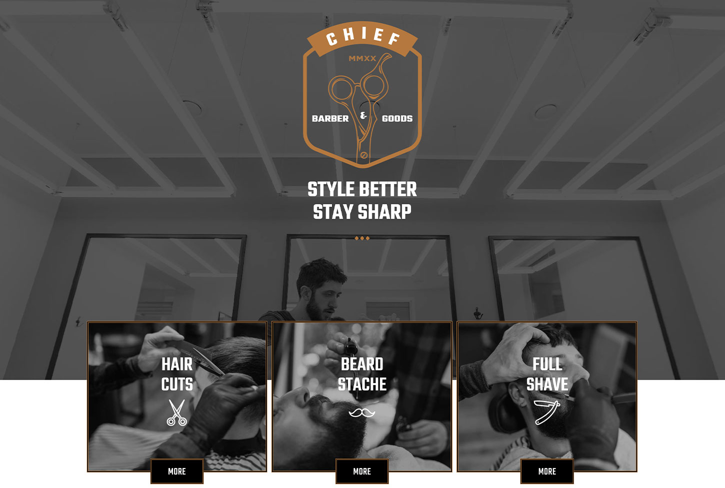 Couper Barber Shop - bizProWeb Website Builder Starter Skin Design