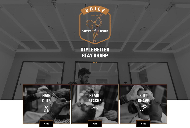 Couper Barber Shop - bizProWeb Website Builder Starter Skin Design
