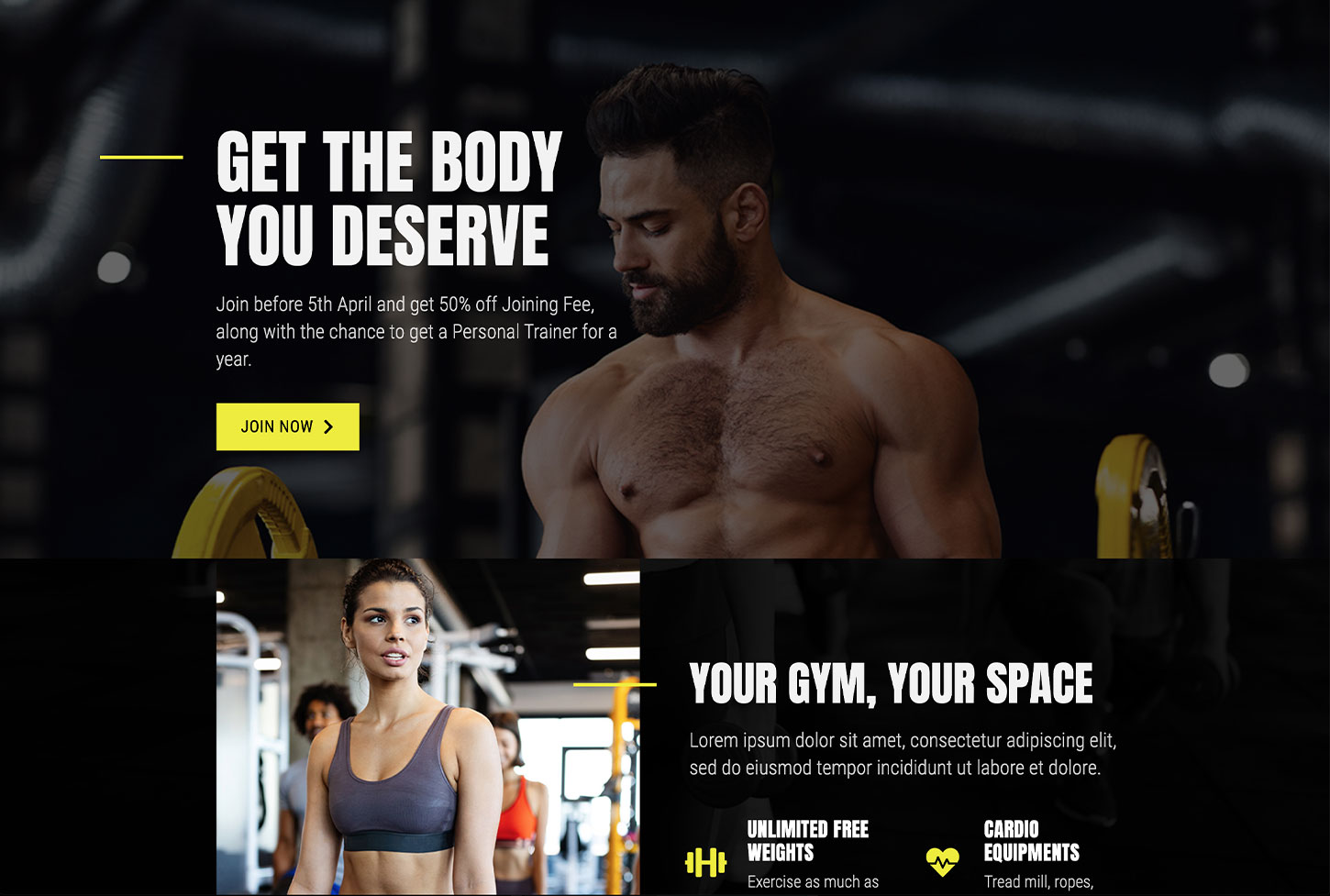 Fitness, Personal Trainer and Gym Website Design Template - bizProWeb Website Builder Starter Skin Design