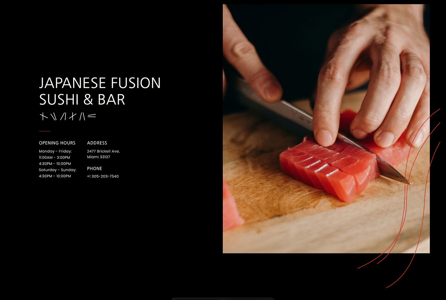 Sushi Restaurant Template - bizProWeb Website Builder Starter Skin Design